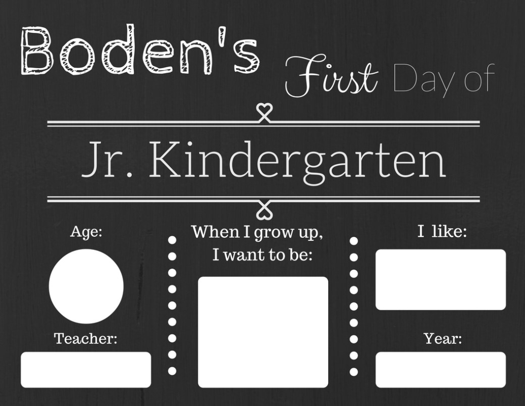 Boden First Day of K sign