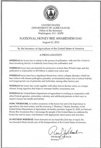 Secretary Thomas J. Vilsack declaration Honey Bee Awareness Day