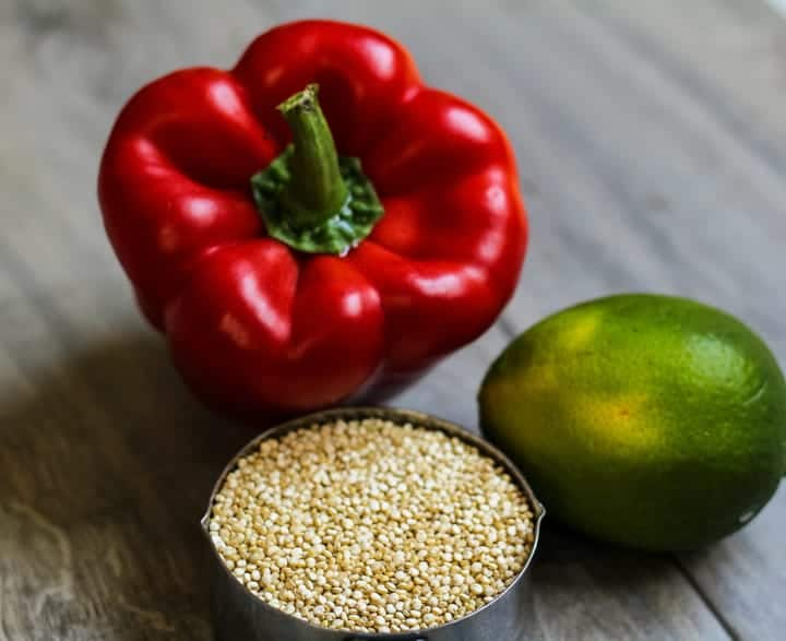 Red pepper, lime, quinoa