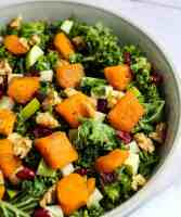 butternut squash kale salad with cranberries