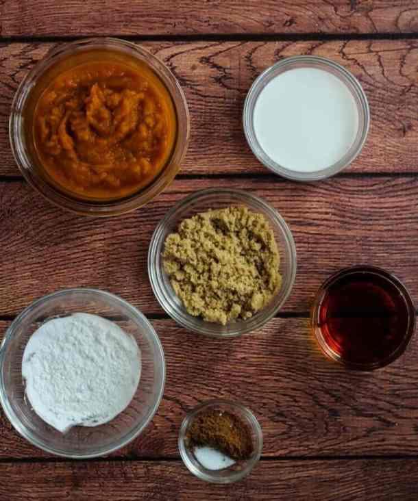 pumpkin puree, coconut milk, maple syrup, pumpkin pie spice, sugar, and arrowroot flour