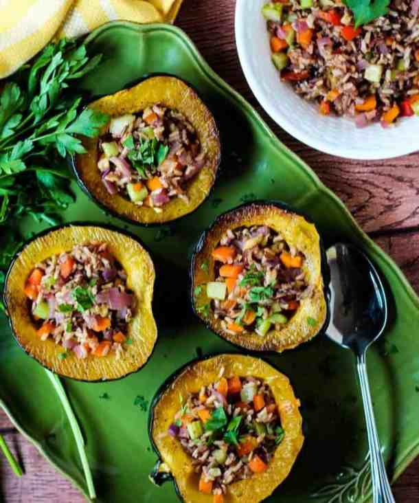 vegan acorn squash and wild rice stuffing