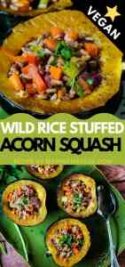 vegan stuffed acorn squash pin