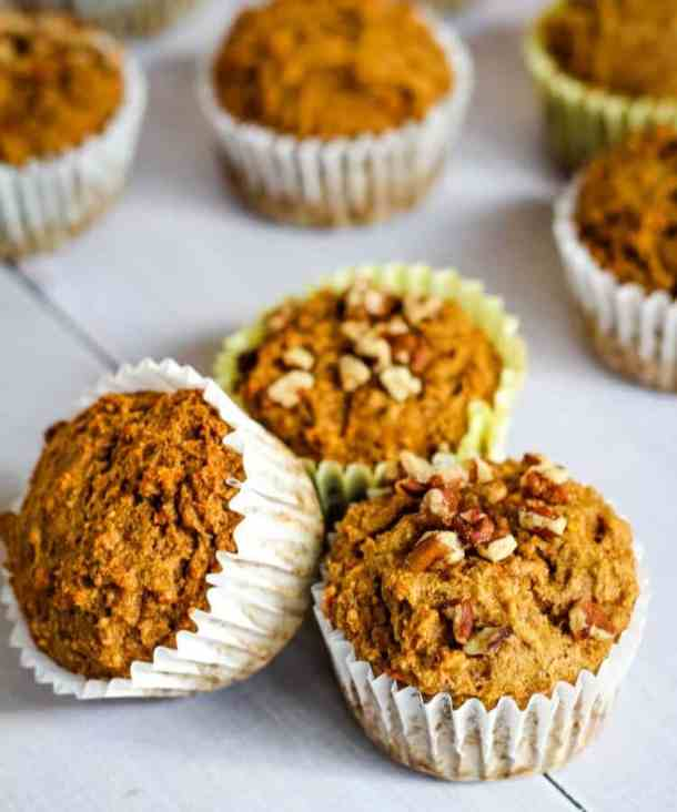 banana carrot muffins with pecans