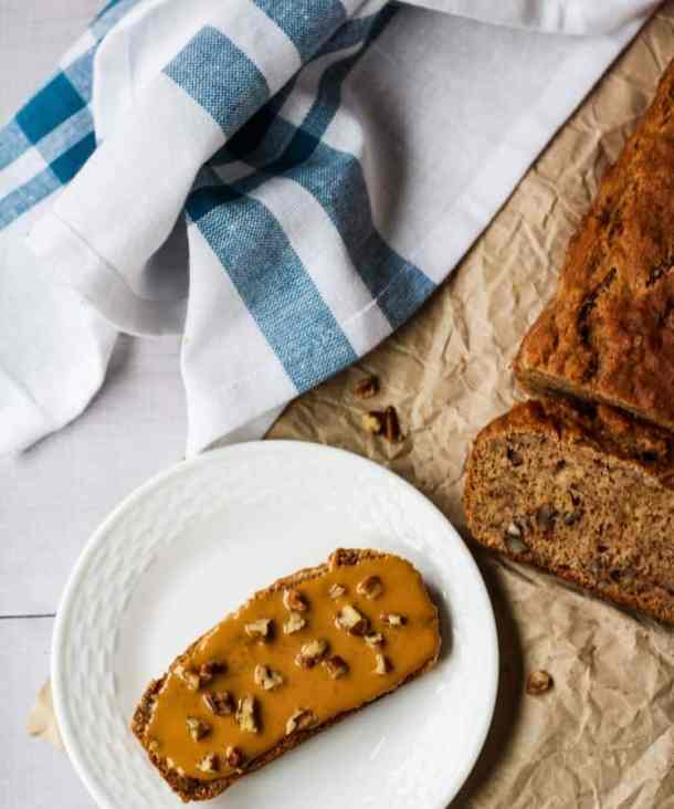 dairy free banana bread loaf and slice