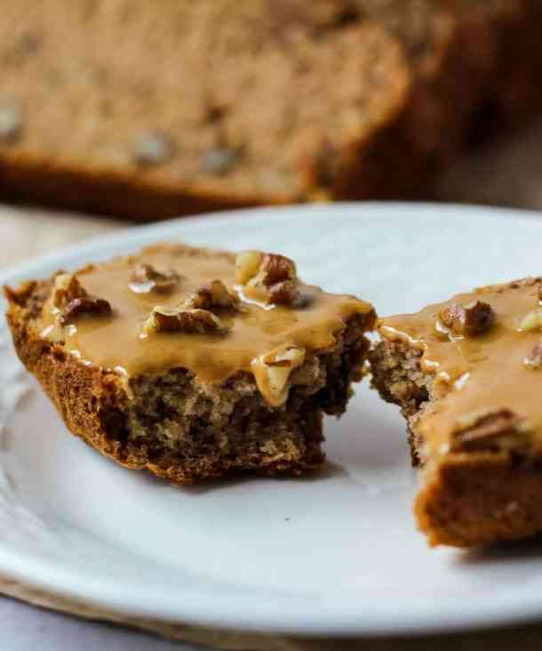 dairy free banana bread with peanut butter and pecans