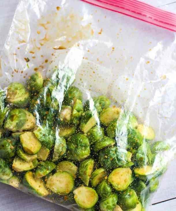 brussel sprouts in zip-lock bag