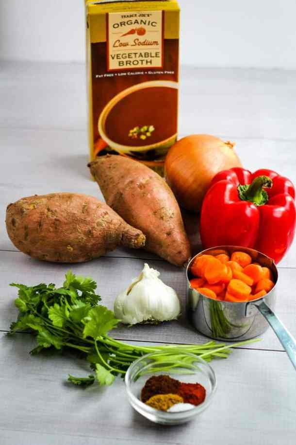 sweet potato and red pepper soup ingredients