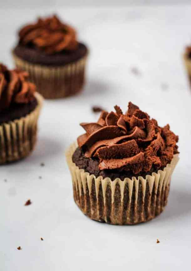 chocolate vegan cupcakes with chocolate frosting