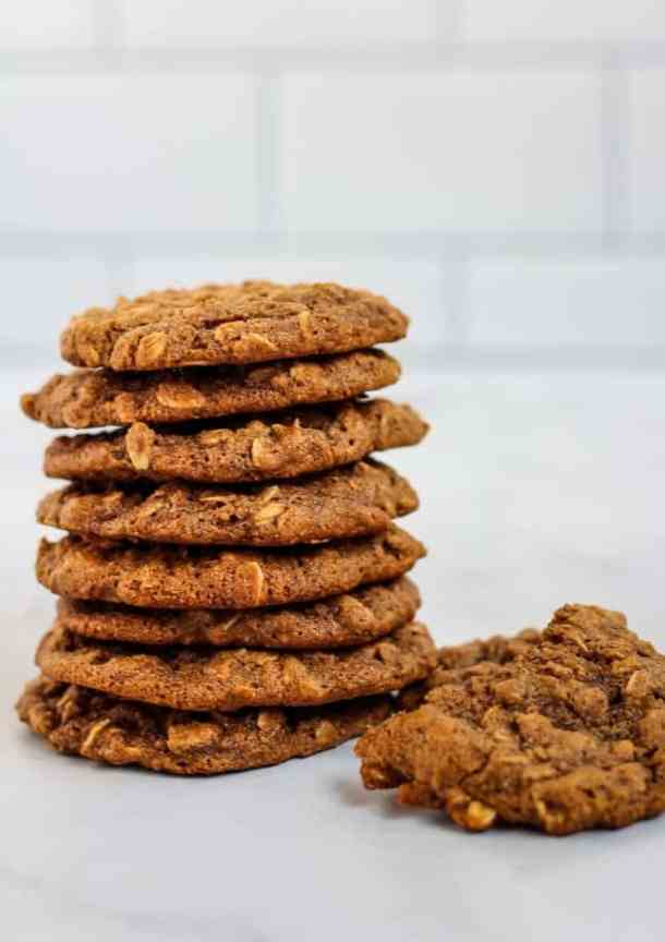 oatmeal cookies in a stack