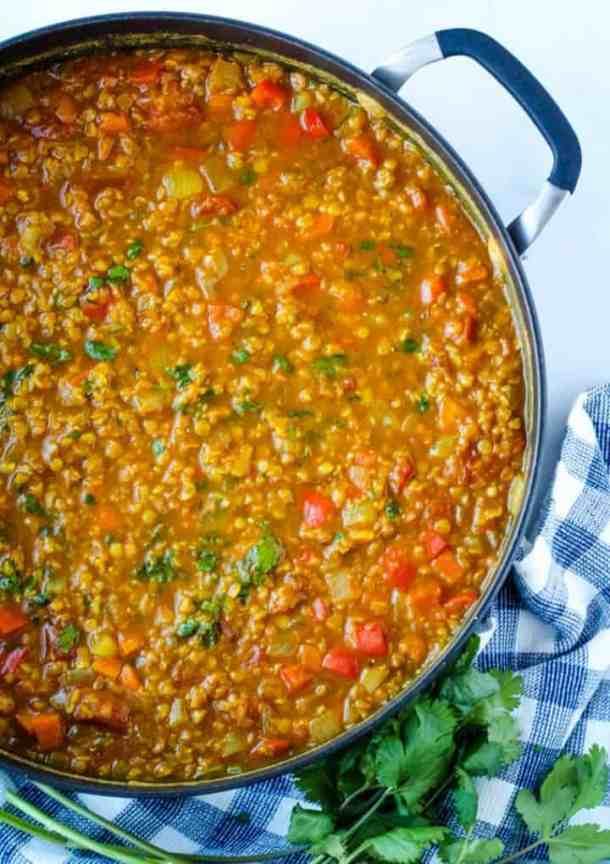 vegan curried lentils in pot
