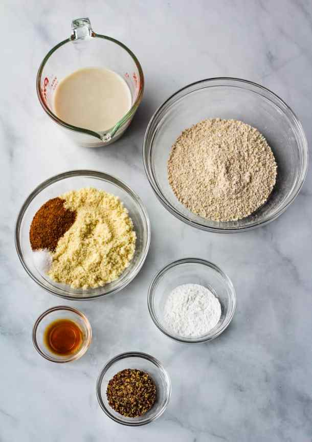 oat flour, almond flour, flax, soy milk