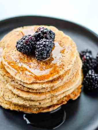 vegan protein pancakes with blackberries