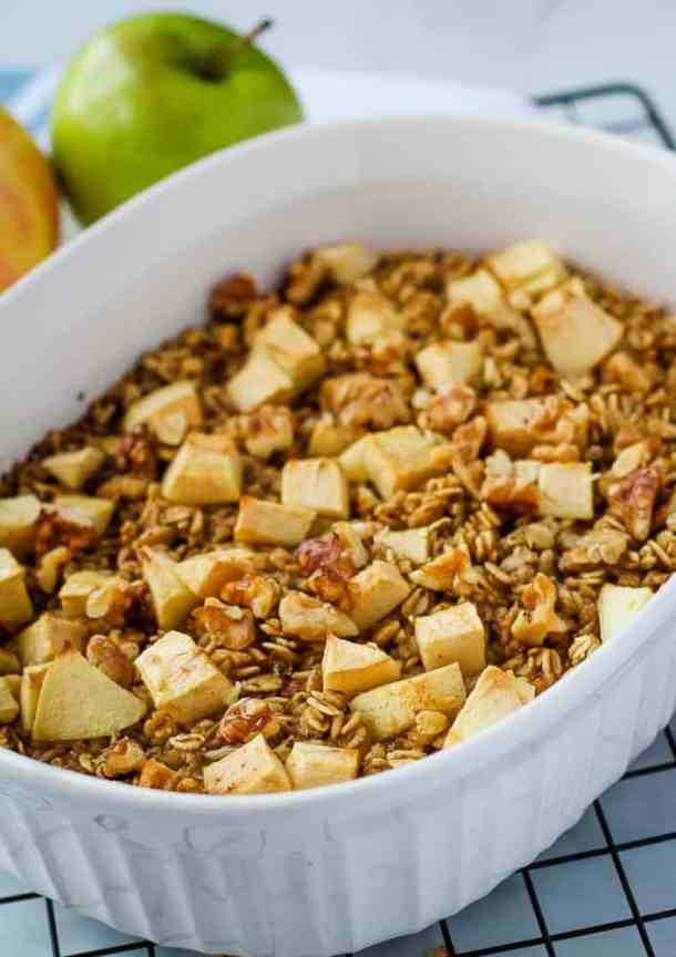 vegan baked oatmeal close up
