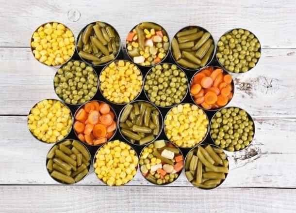 vegan pantry staples  canned vegetables, corn, green beans, carrots, peas