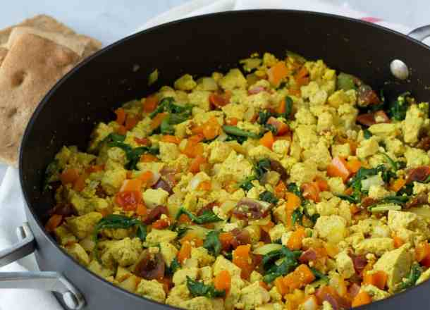close up of silken tofu scramble