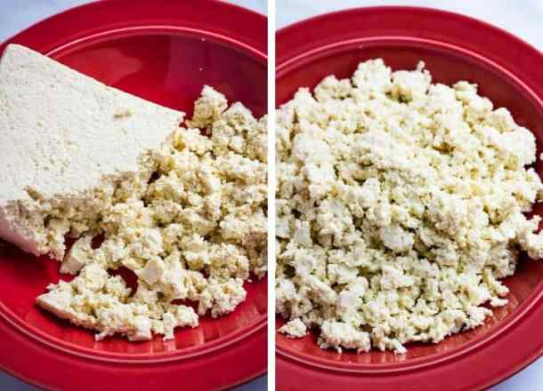 tofu crumbled in red bowl