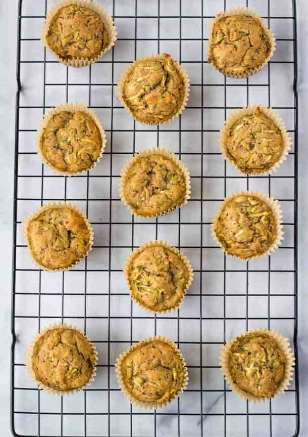 zucchini muffins on cooling rack