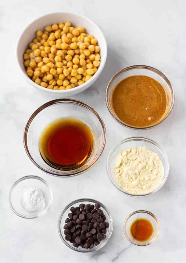 ingredients for vegan chickpea blondies