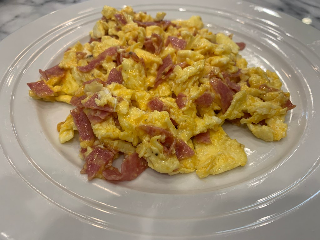 Easy Breakfast Idea: Salami Scrambled Eggs