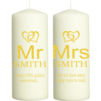 Golden Wedding Anniversary Candles Personalised