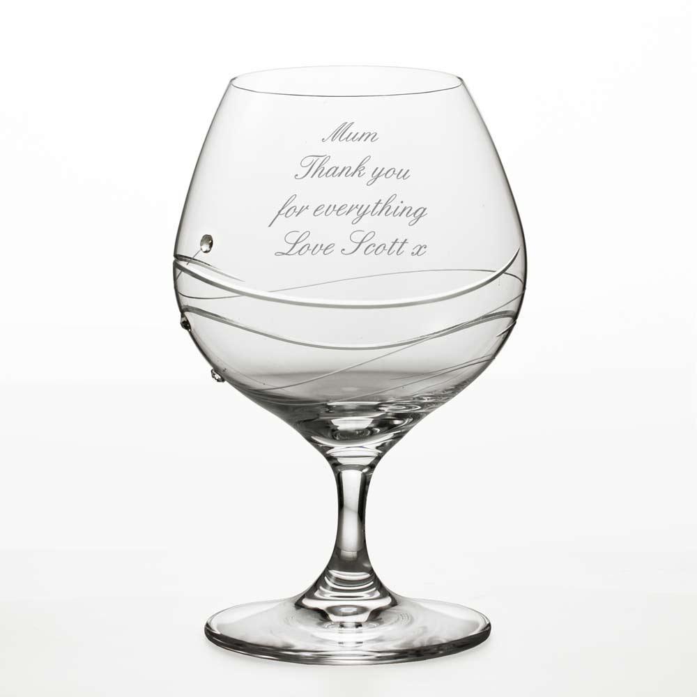 Engraved Brandy Glass With Swarovski Crystal Elements