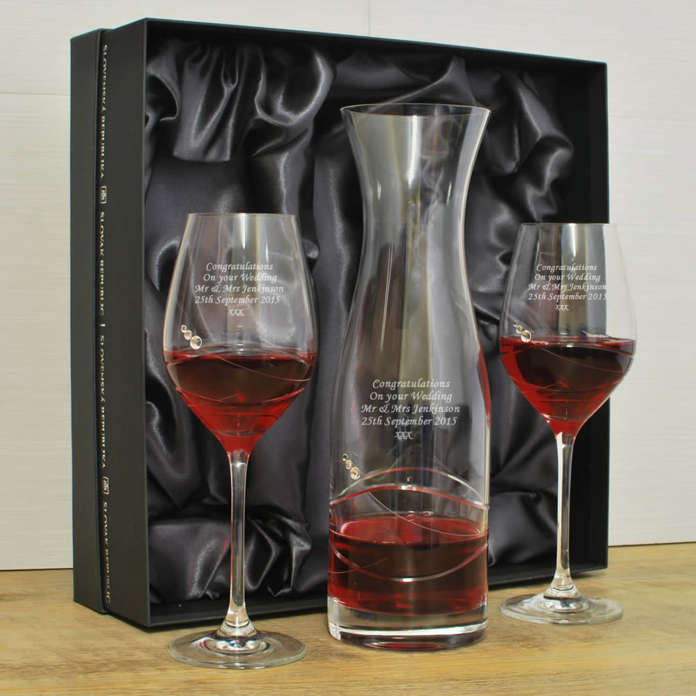 Personalised Wine Glass Amp Decanter Set With Swarovski Elements
