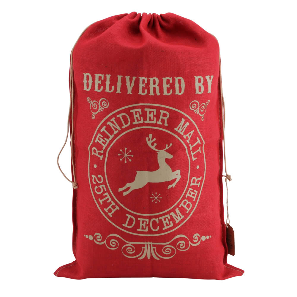 Delivered By Reindeer Mail Hessian Sack