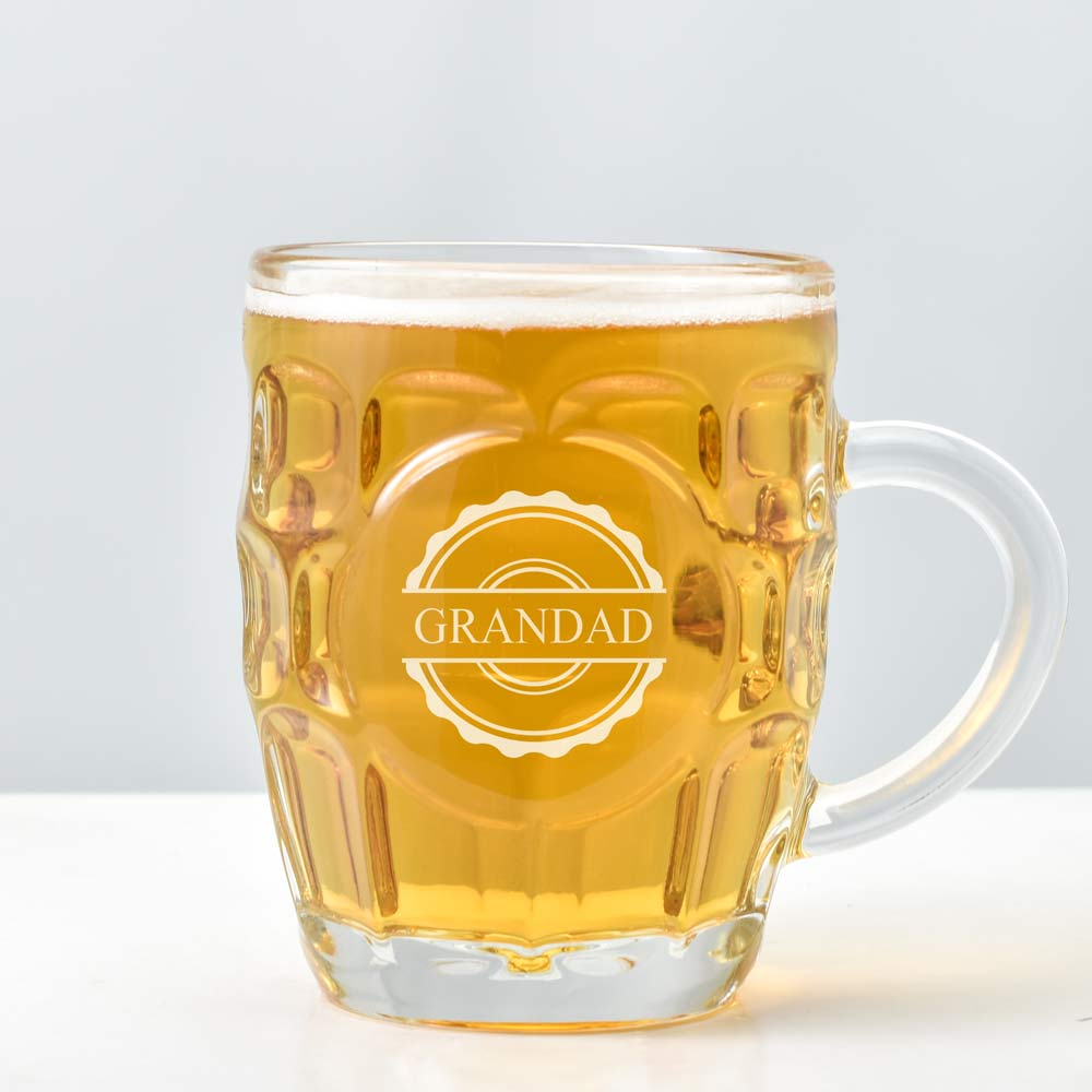 Personalised Traditional British Pint Glass With Badge