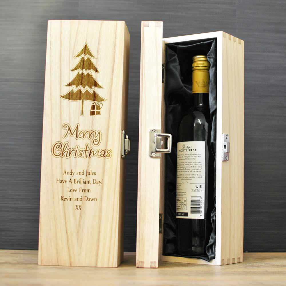 Personalised Wooden Wine Box Christmas Gift