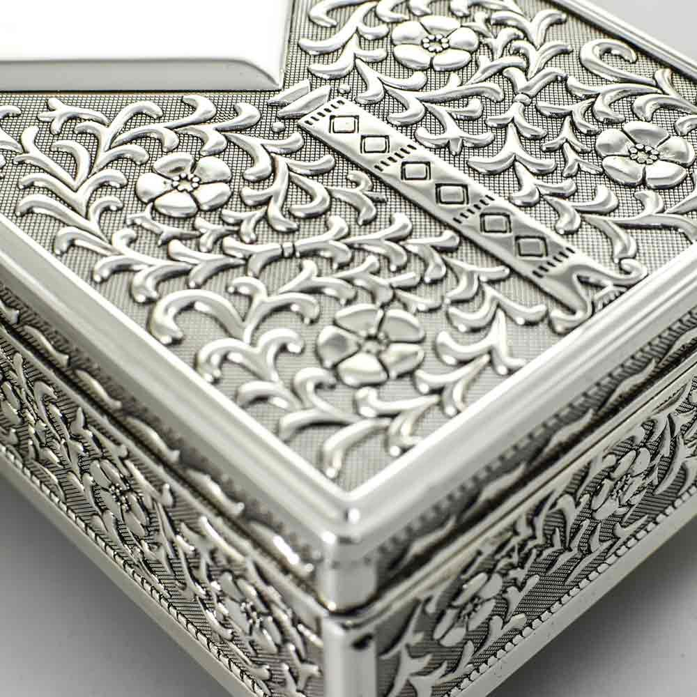 Silver Antique Personalised Jewellery Box With Free Gift Box