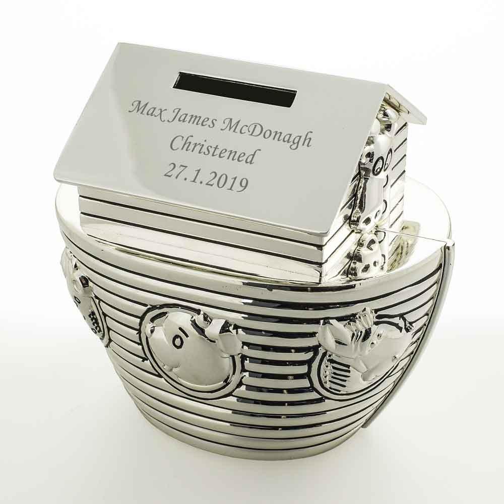Personalised Noahs Ark Money Box Engraved Christening Gift