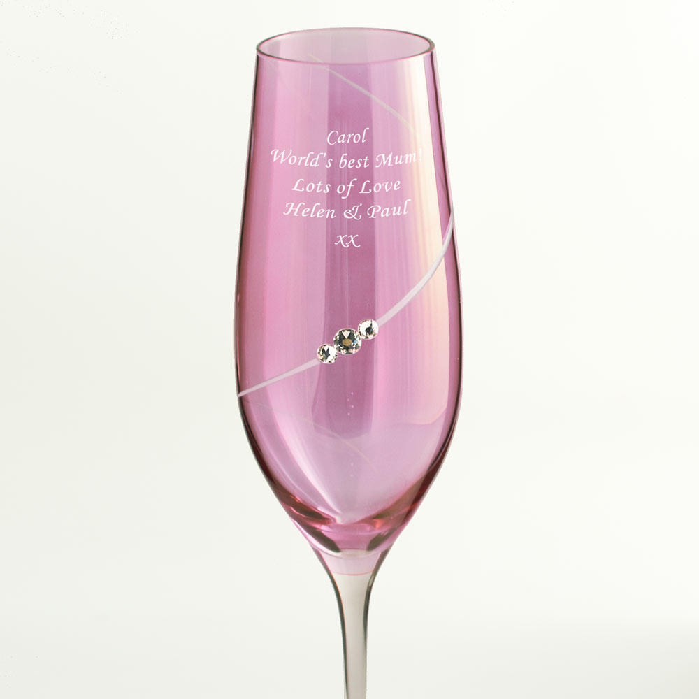 Personalised Pink Champagne Flute With Swarovski Elements