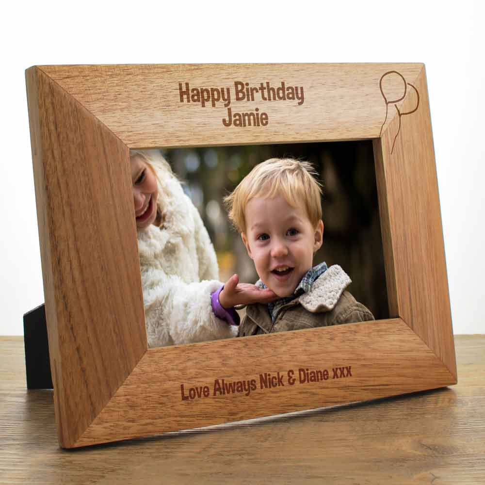 Happy Birthday Personalised Wooden Photo Frame Gift