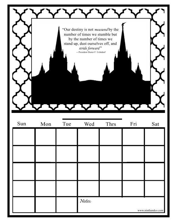 Printable Monthly Calendar with General Conference Quotes