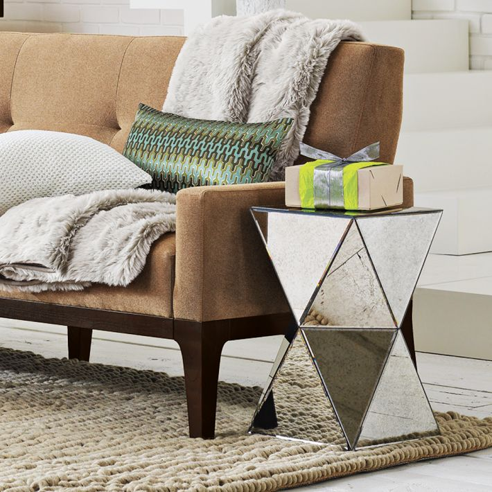 Faceted Mirror Side Table. A Bit Of Multifaceted Old Hollywood Glamour From  West Elm. This Tableu0027s Angled Sides, Clad In Antiqued Mirror, ...
