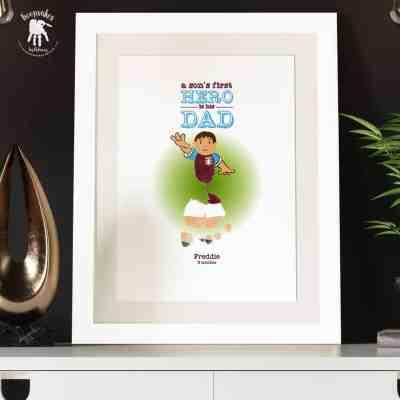 Gift for Dad-Football footprint keepsake