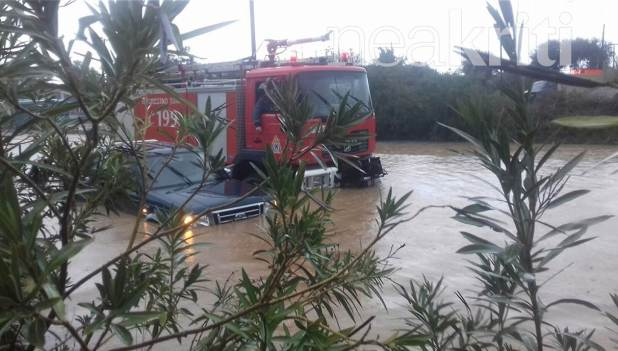 One missing, bridge collapse as torrential rains flood Chania and