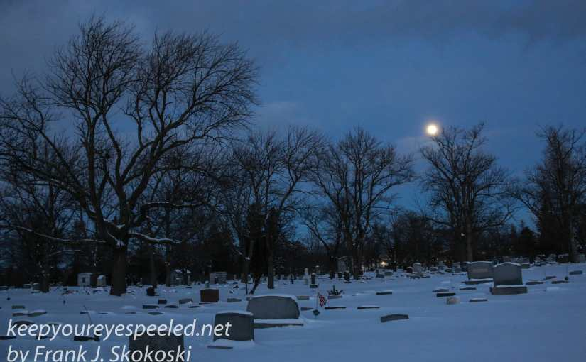 Snow  And A Snow Moon In The Mountain View Cemetery