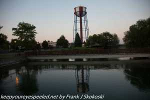Water tower near pond downtown Idaho Falls