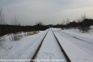 snow covered railroad tracks