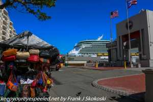 street vendor and cruise ship in background