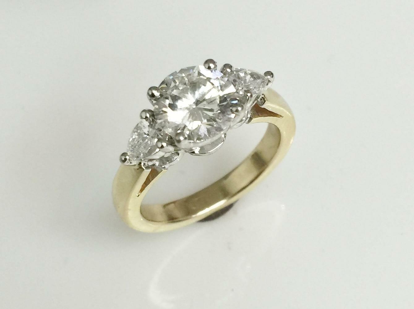 Three Stone Yellow Gold Engagement Ring Keezing Kreations
