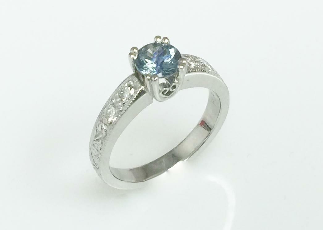 Platinum Light Blue Montana Sapphire Engagement Ring