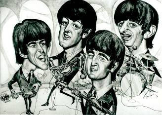 Το περίφημο σκίτσο των Σκαθαριών με τα αυτόγραφά τους. Θεωρείται ότι είναι η μονοδική καρικατούρα στον κόσμο που έχει όλες τις υπογραφές των Beatles