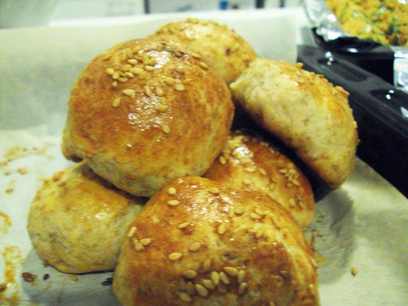 Delicious kefir bread when dipped in egg yolk.