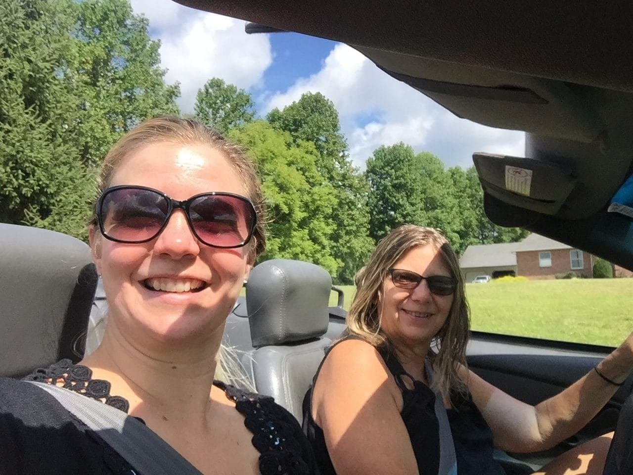 convertible riding with my mom