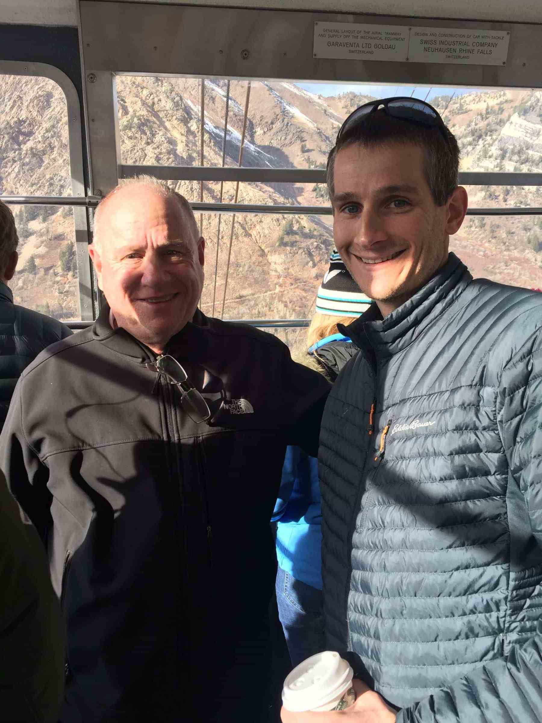 Keith and Mike on the tram at Snowbird