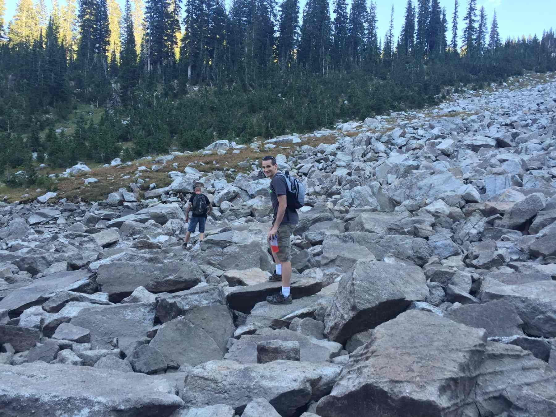 Keith and Randy crossing the boulder section