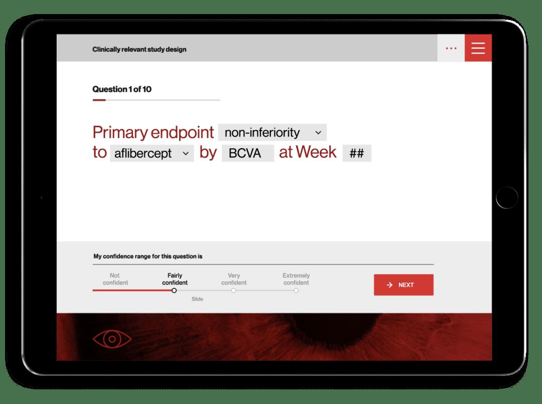 Medical training app design quiz screen